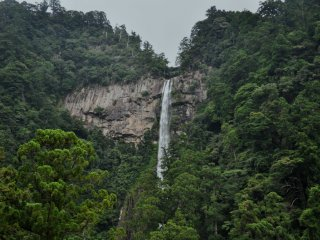The view of Nachi-no-otaki waterfall is impressive from any angle. This shot was taken from the nearest road to the falls