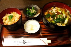 Delicious set lunches which are healthy and good value at Aoi Soba Place next to JR and Kintetsu Kyoto Station