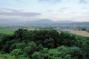 The view of Furano and Daisetsuzan National Park from the Wine House