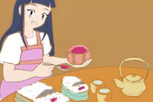 Menina apresenta arroz e chá - teste com fundo dourado