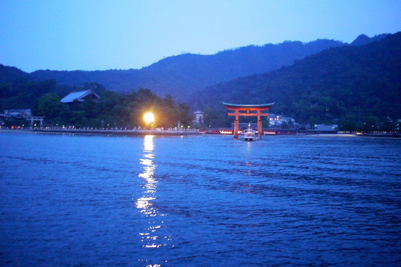 Red Tori Gate View at Night