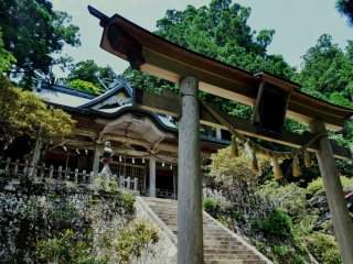 Tamaki Shrine's five kami-sama: Kuni-no-tokotachi-no-mikoto, Izanagi-no-mikoto, Izanami-no-mikoto, Ama-terasu-o-mikami, and Kamuyamato-iware-hiko-no-mikoto