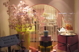 Spring decoration inside a tea shop