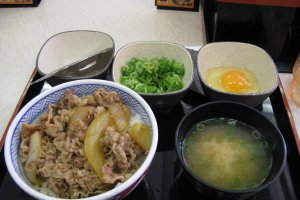 A basic Yoshinoya lunch set