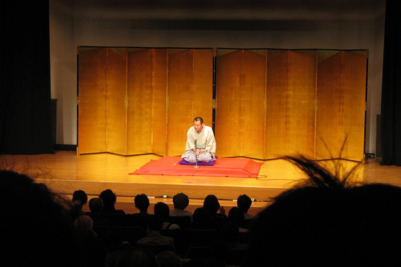 A rakugo performer entertaining his audience