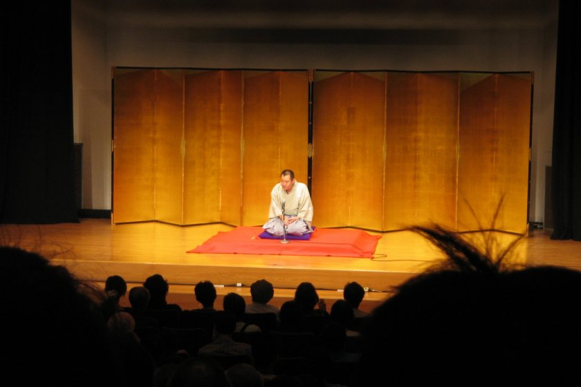 A rakugo performer entertaining his audience