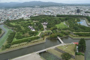 Views of the star shaped fort from Goryokaku Tower