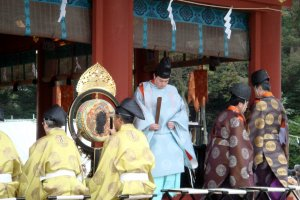 A ritual being performed by Shinto priests