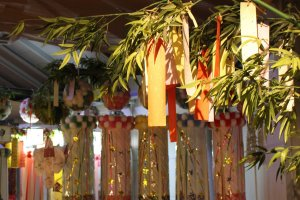 Paper ornaments for Tanabata festival