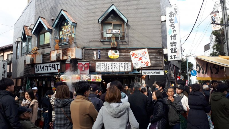 New Year crowds outside of the Toy Museum