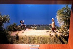 Tora-san returning home in an active diorama display