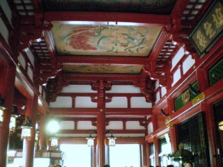 Sensoji Temple's ceiling artwork