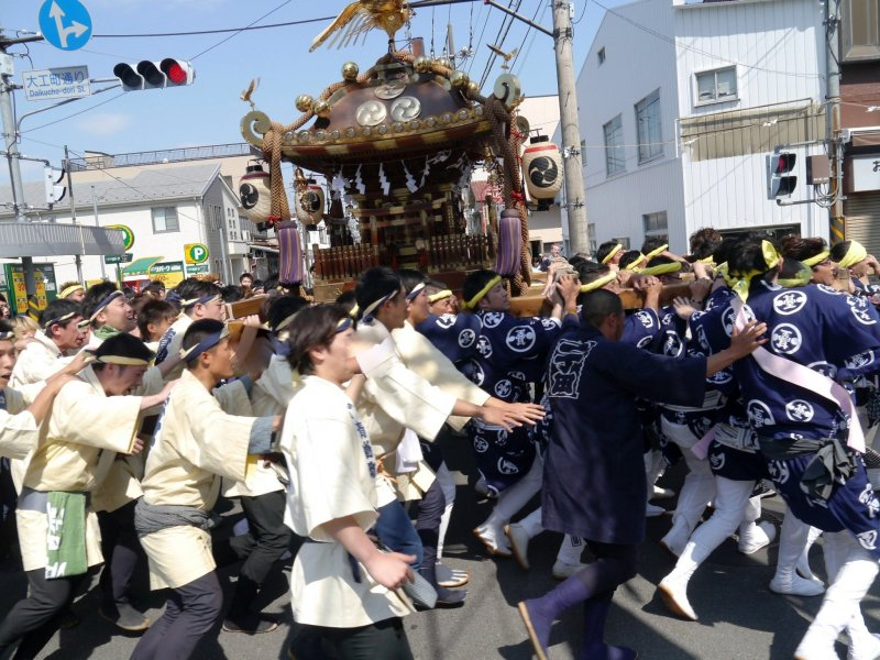 A typical mikoshi scene in Japan