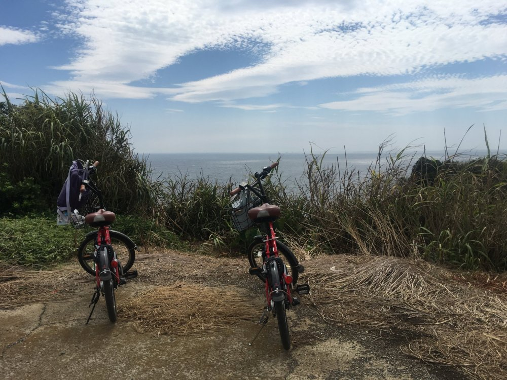 三浦半岛租赁自行车,电动的骑起来不费力,慢悠悠游览各个地方