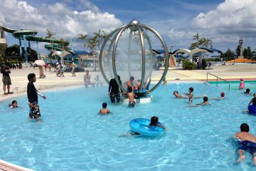 <p>This popular feature in the childrens pool shoots intense streams of water; wearing goggles is a must</p>