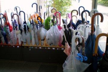 Umbrellas at the entrance