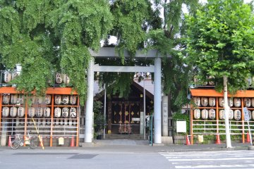 The torii gate at the entrance to the shrine