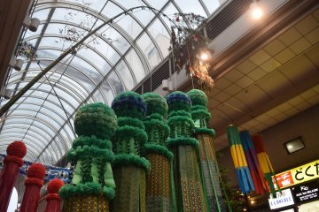 The traditional Tanabata bamboo with special ornaments