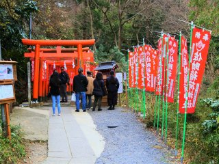 The torii gates and red banners at the shrine entrance