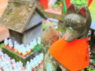 Inari figures in the precinct