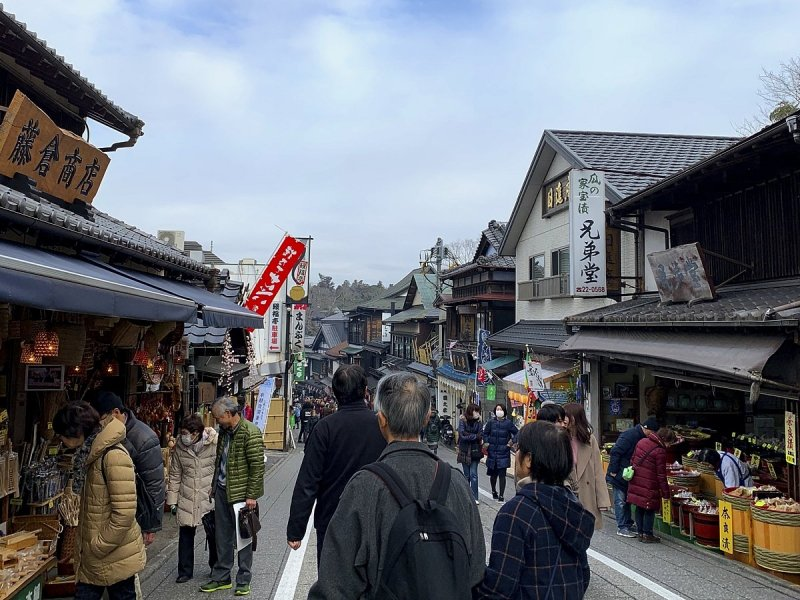 Naritasan's main approach with its many shops and restaurants