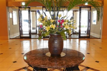 This beautiful flower ornament welcomes you as you enter the Oasis Tower Hotel