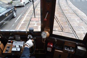 Vintage Hiroshima streetcar: inside
