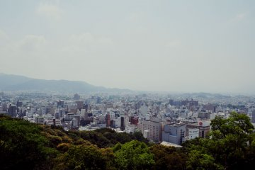 The top of the mountain offers an outstanding view of Matsuyama.