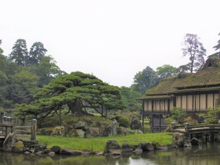 Rinchikaku pavilion amid the garden scenery