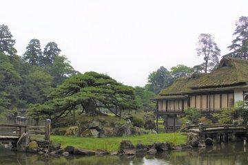Rinchikaku pavilion amid the garden scenery