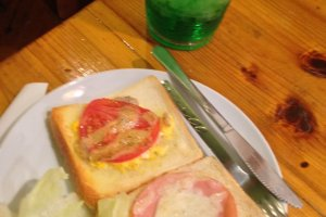 Hot Sandwich and jug of Melon Soda at Cafe OB