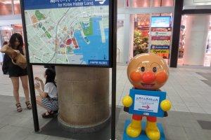 แผนที่ของสถานที่ท่องเที่ยวท้องถิ่นและโฆษณาพิพิธภัณฑ์เด็กอันปังแมนในโกเบ