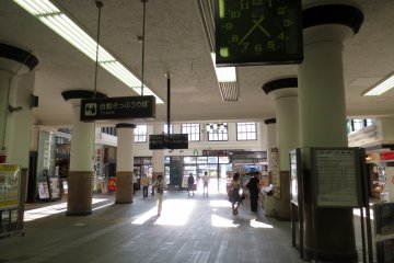 The beautiful sunlit interior of the spacious station