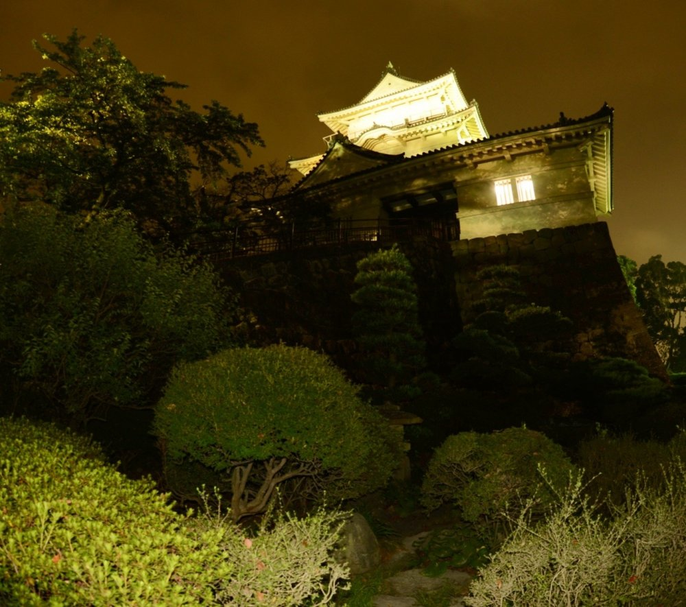 Odawara castle at night. The castle is lit up all night, but yet the area can be a little spooky!