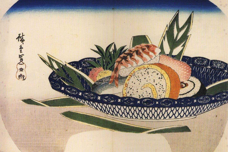 An Edo-era woodblock print of sushi by Hiroshige