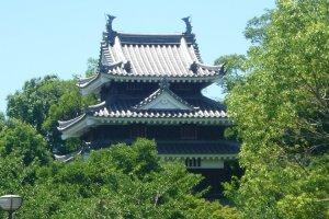 The reconstructed main yagura, or turret of Nishio Castle