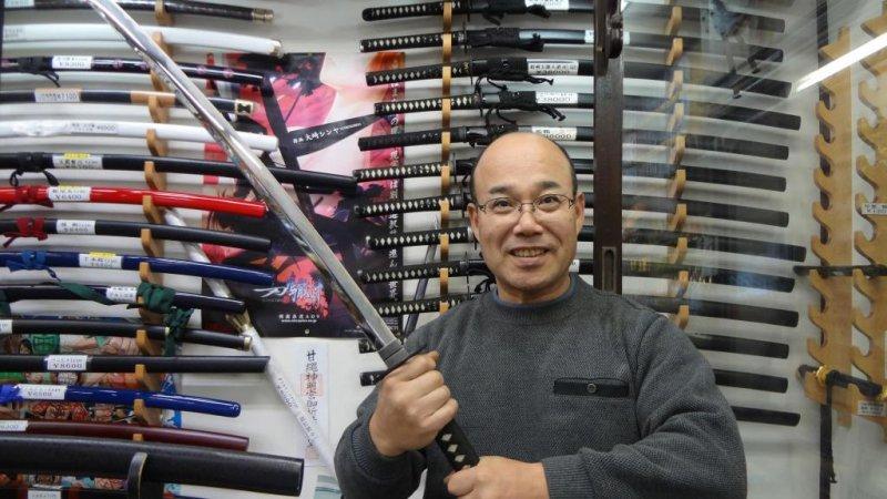 <p>Sankai-do&#39;s owner, Kamegaya-san, holding a Samurai sword.</p>