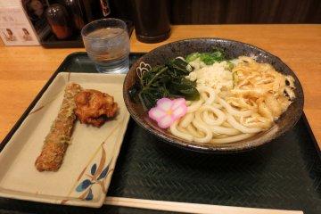 My less-than-500-yen meal with sanuki udon, karaage and chikuwa