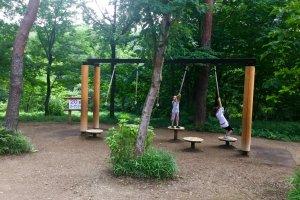 Swing like Tarzan to get to the next landing step.