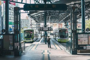 Trams come and go at Yokogawa Station in Hiroshima City