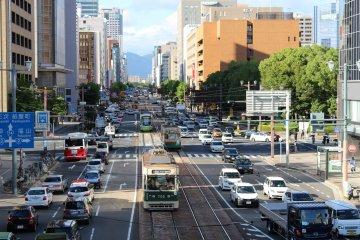 Trams running through downtown Hiroshima