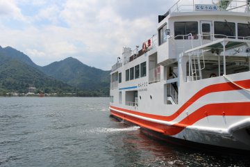 Catching the ferry at Miyajima