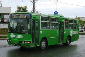 The 100 yen Kururi green bus in Tottori