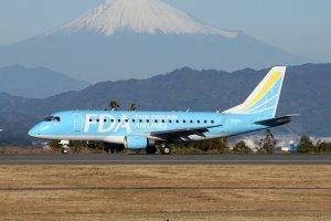 Fuji Dream Airlines in front of Fuji-san