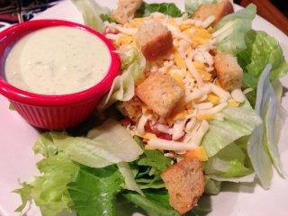 Garden salad with avacado ranch dressing