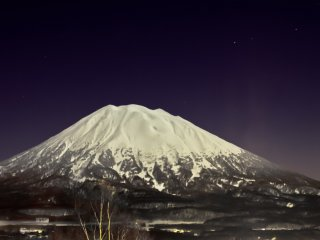 Mt Yotei on a rare, clear winter night as seen from the Hirafu Welcome Center