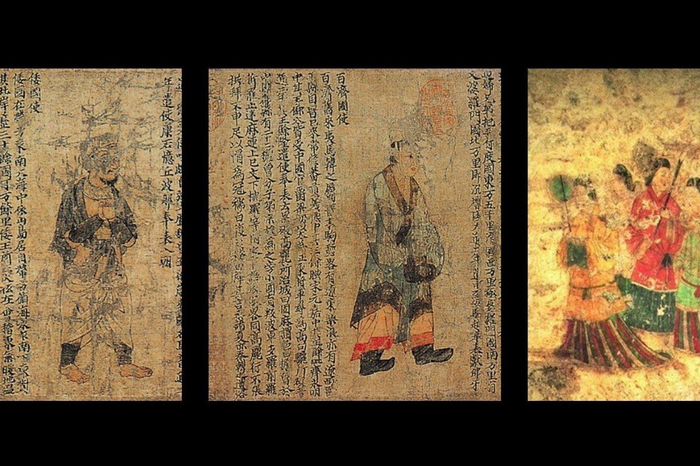 左圖的倭國(即後來的日本國)使者像,以及中圖的百濟國使者像均擷取自《職貢圖》宋代摹本的殘卷;右圖為其中一幅高松塚古墳壁畫