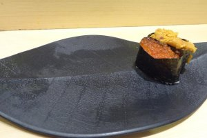 The sushi itself will be served on black plates that resemble the shape of a leaf. Elegant!