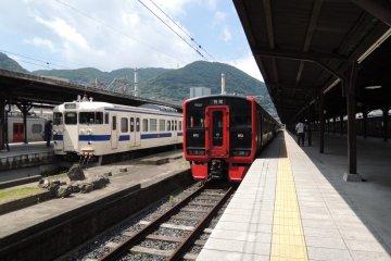 Trains waiting at the platform