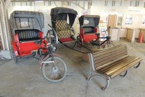 Old-style cycle rickshaws on display